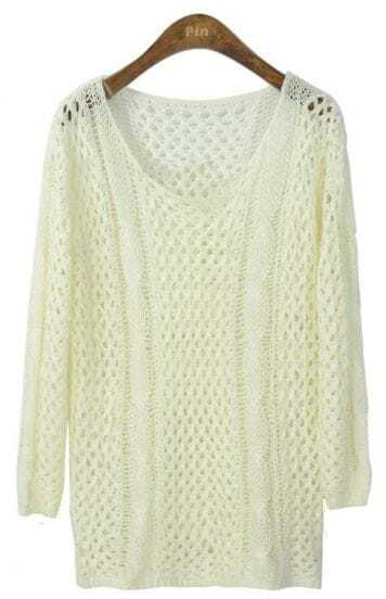 White Long Sleeve Hollow Loose Pullovers Sweater