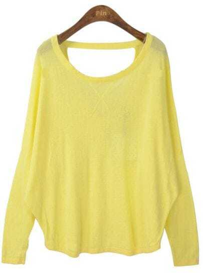Yellow Batwing Long Sleeve Backless Loose Sweater