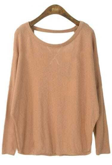 Brown Batwing Long Sleeve Backless Loose Sweater