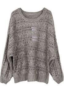Camel Batwing Long Sleeve Hollow Loose Sweater