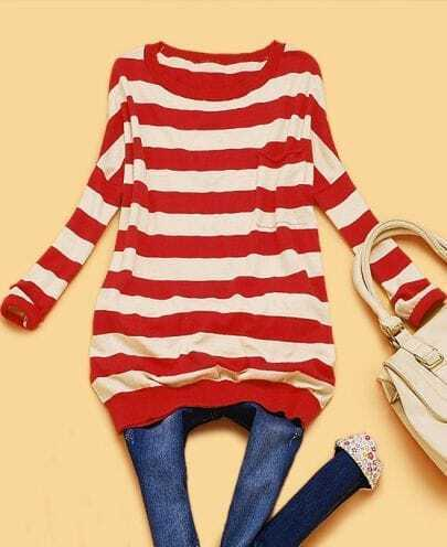 Red and White Striped Oversized Lightweight Jumper
