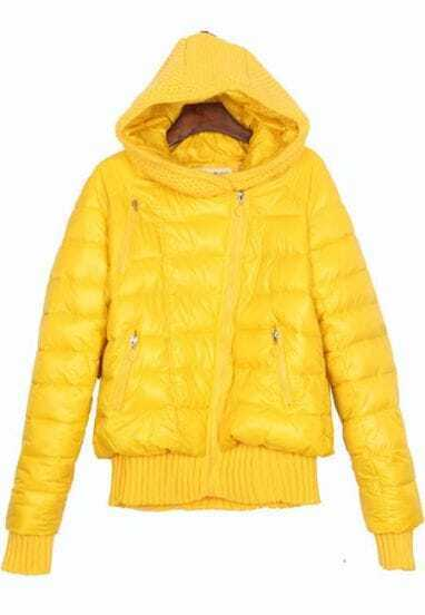 Shiny Yellow Oblique Zipper Placket Contrast Sweater Hooded Padded Jacket
