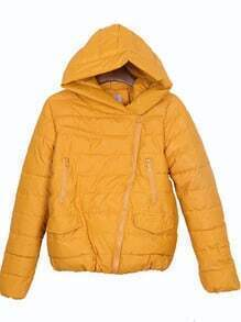 Yellow Oblique Zipper Placket Pockets Hooded Padded Jacket