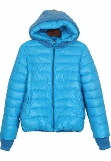 Turquoise Sweater Hooded and Cuffs Padded Jacket