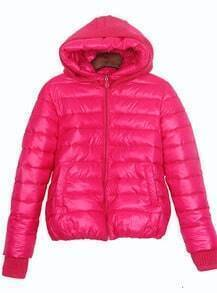Rose Red Sweater Hooded and Cuffs Padded Jacket