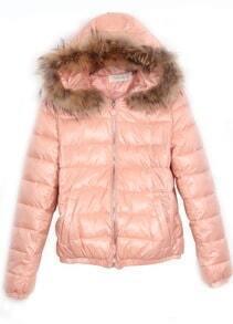 Pink Fur Trim Detachable Hooded Padded Jacket
