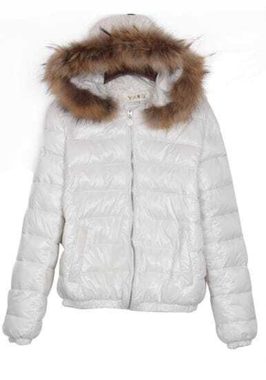 White Fur Trim Detachable Hooded Padded Jacket