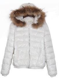 White Fur Trim Detachable Hooded Padded Jacket