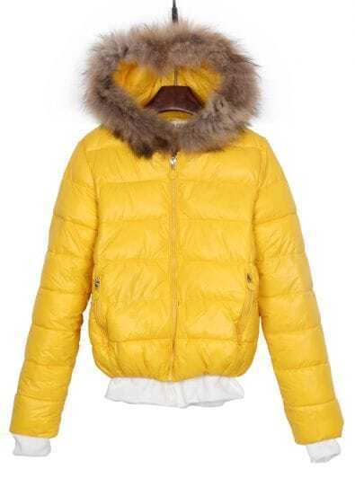 Yellow Faux Fur Hooded Contrast Trims Padded Jacket