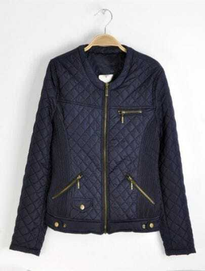 Navy Long Sleeve Zipper Embellished Pockets Quilted Jacket