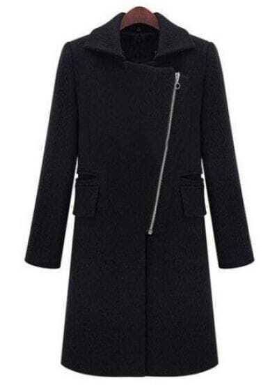 Black Lapel Long Sleeve Zipper Pockets Coat
