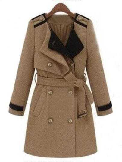 Khaki Long Sleeve Lapel Drawstring Waist Coat