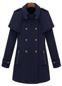 Navy Lapel Long Sleeve Epaulet Pockets Cape Coat
