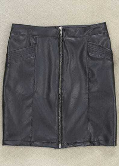 Black Zipper Symmetry Pockets PU Leather Skirt