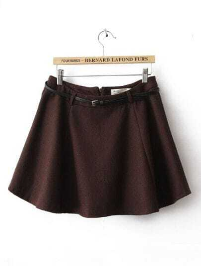 Dark Brown Drawstring Waist Zipper Pleated Skirt