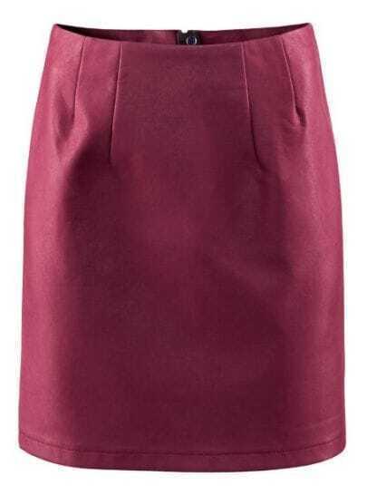 Wine Red High Waist Zipper Split PU Leather Skirt