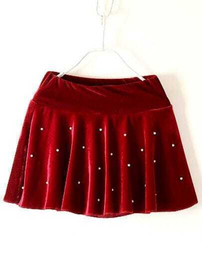 Red Elastic Waist Beading Loose Skirt