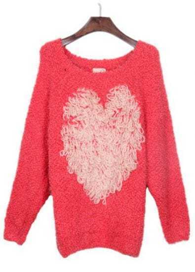 Red Round Neck White Heart Embellished Sweater