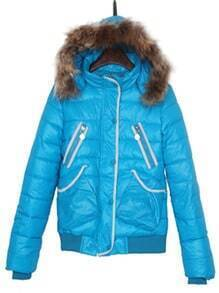 Blue Faux Fur Hooded Print Back Puffer Padded Jacket