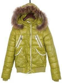 Mustard Green Faux Fur Hooded Print Back Puffer Padded Jacket