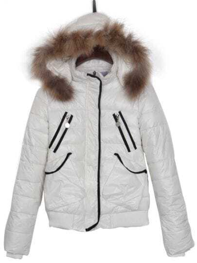 White Faux Fur Hooded Print Back Puffer Padded Jacket