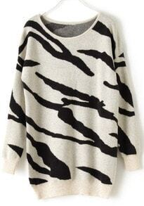 Black Apricot Zebra Stripes Long Sleeve Sweater