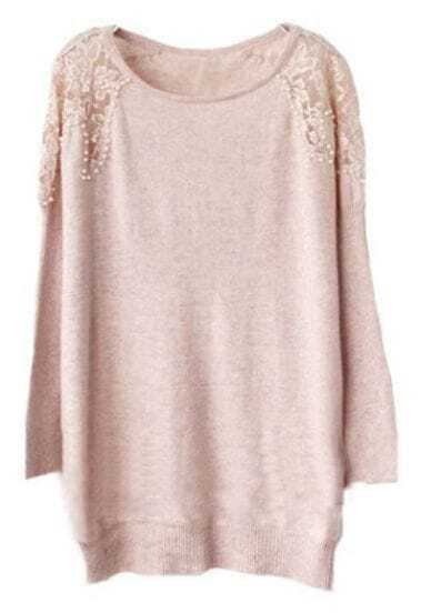 Pink Long Sleeve Lace Off the Shoulder Pearls Sweater -SheIn ...