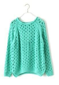 Green Batwing Long Sleeve Hollow Ripped Pullovers Sweater