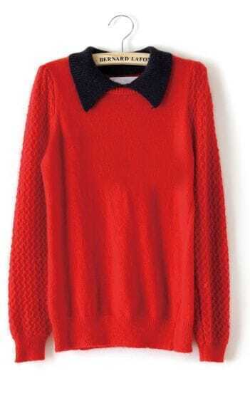 Red Contrast Collar Long Sleeve Pullovers Sweater