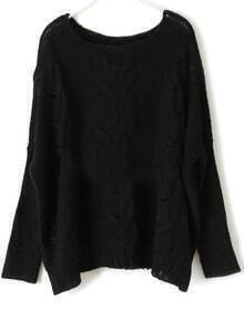 Black Round Neck Long Sleeve Loose Pullovers Sweater