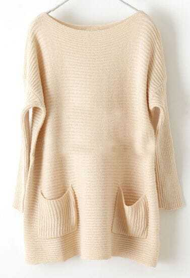 Apricot Batwing Long Sleeve Pockets Loose Sweater