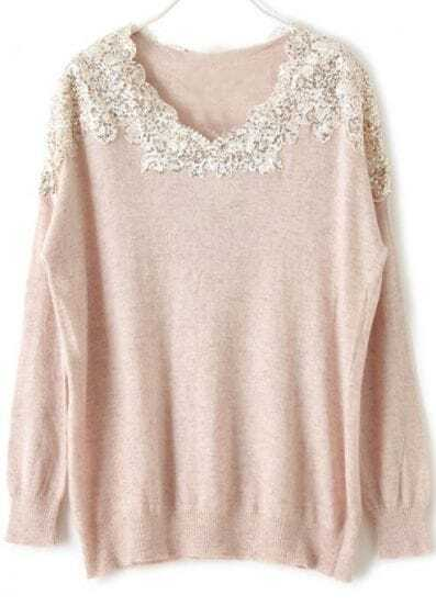 Pink Long Sleeve Lace Sequined Pullovers Sweater