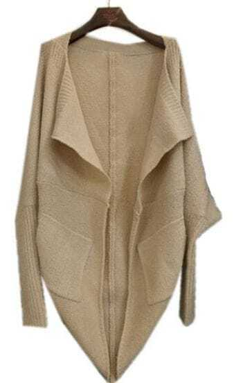 Apricot Lapel Batwing Long Sleeve Loose Cardigan Sweater