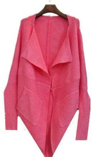Rose Lapel Batwing Long Sleeve Loose Cardigan Sweater