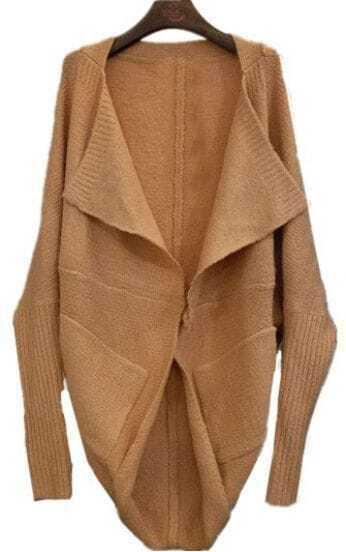 Pink Lapel Batwing Long Sleeve Loose Cardigan Sweater