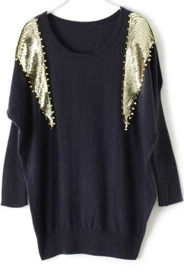 Navy Batwing Long Sleeve Rivet Sequined Sweater