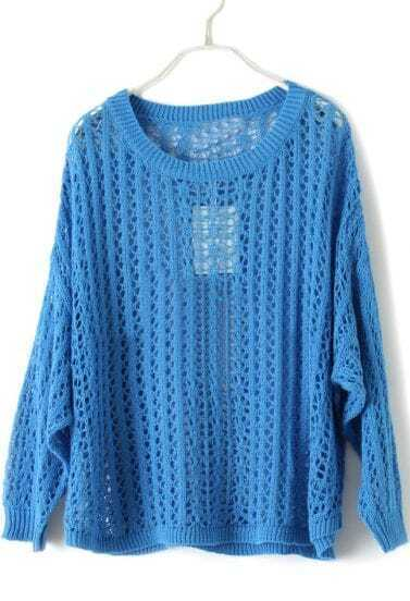 Blue Batwing Long Sleeve Hollow Pullovers Sweater