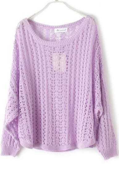 Purple Batwing Long Sleeve Hollow Pullovers Sweater