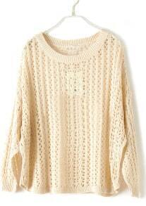 Apricot Batwing Long Sleeve Hollow Pullovers Sweater