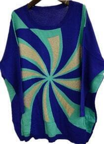 Blue Batwing Long Sleeve Windmill Print Sweater