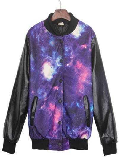 Purple Galaxy Print Contrast PU Leather Sleeve Jacket