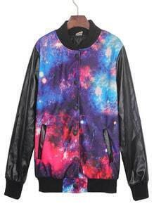 Red Galaxy Print Contrast PU Leather Sleeve Jacket