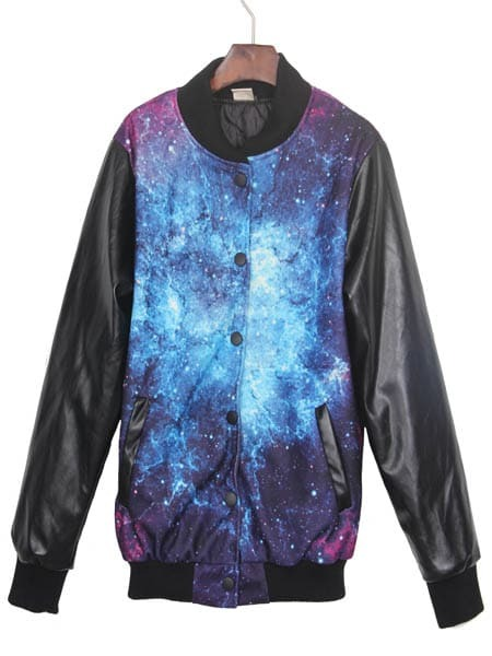 Navy Galaxy Print Contrast Pu Leather Sleeve Jacket Shein