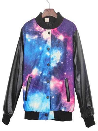 Blue and White Galaxy Print Contrast PU Leather Sleeve Jacket