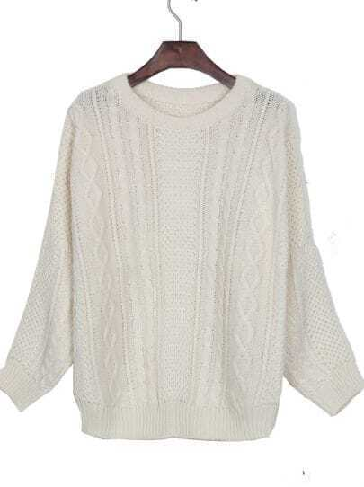 White Batwing Long Sleeve Cable Knitted Jumper Sweater