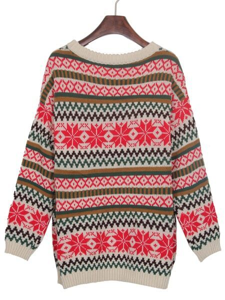 Snowflake Striped Sweater 8