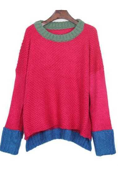 Green Neck Contrast Blue Hem Batwing Sleeve Rose Sweater