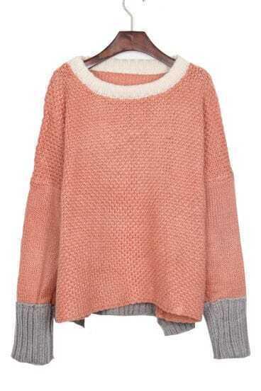 White Neck Contrast Grey Hem Batwing Sleeve Pink Sweater