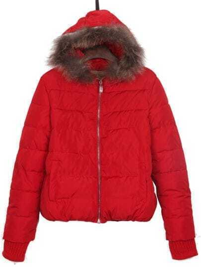 Red Faux Fur Hooded Puffer Zipper Padded Jacket