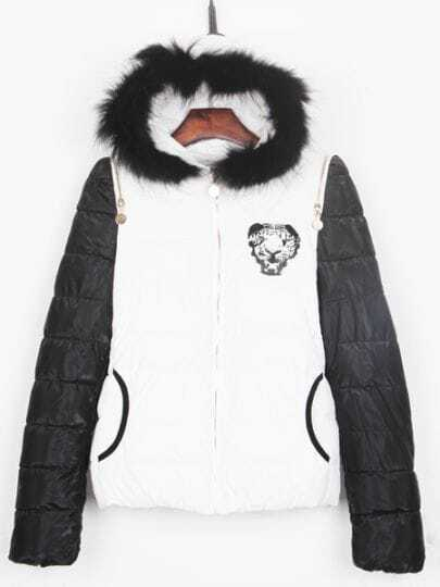 White Tiger Back Zip Shoulder Black Sleeve Hooded Padded Jacket